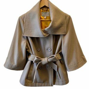Old Navy Bell Sleeve Belted Wool Coat, Tan, Size L